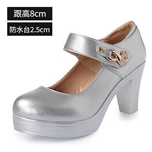 zapatos gruesa zapatos alto 8cm redonda los de grande solo de cuero 39 alto blanco con mujeres bold Cabeza plata de mujer con de primavera tacón zapatos cIAU4qqS