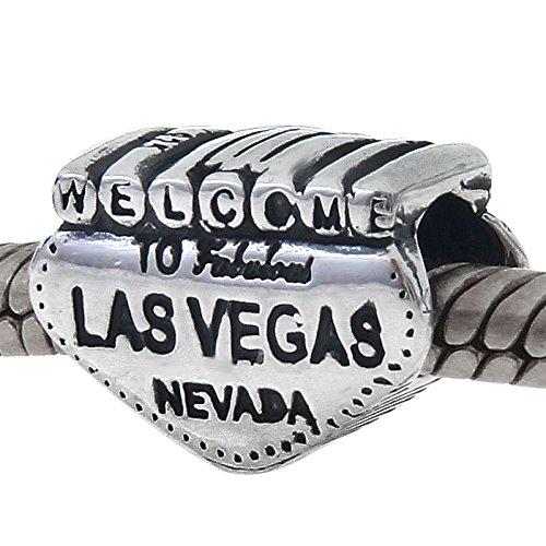 Welcome to Las Vegas Nevada Charm v/éritable argent sterling 925/de voyage Bead Charm pour bracelet europ/éen
