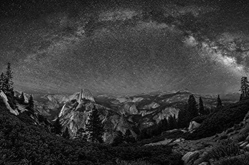 ヨセミテ国立公園の壁紙-自然の壁紙-#37163 - 白黒の キャンバス ステッカー 印刷 壁紙ポスター はがせるシール式 写真 特大 絵画 壁飾り50cmx33cm