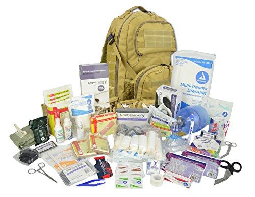 Lightning X Stocked Modular Trauma & Bleeding First Aid Responder Medical Backpack + Kit - TAN