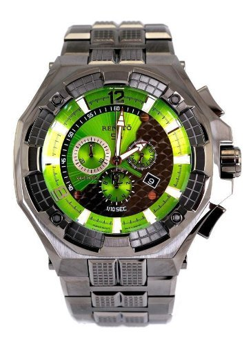 Renato Big Men's Mostro 55MOG-GR Swiss Chronograph Green Dial Divers Bracelet Watch