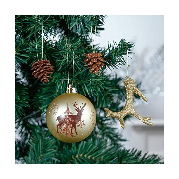 Valery Madelyn Palle di Natale 60 Pezzi di Palline di Natale, 3-5 cm di Rame del Bosco e Oro Infrangibile Ornamenti di Palla di Natale Decorazione per la Decorazione Dell'Albero di Natale 5 spesavip