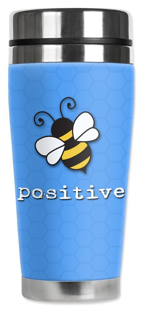 Bee Positive Mugzie brand 20-Ounce Travel Mug with Insulated Wetsuit Cover