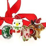 Sterling Silver Christmas Spirit Reindeer Snowman Snowflake European Style Glass Bead Charms Set
