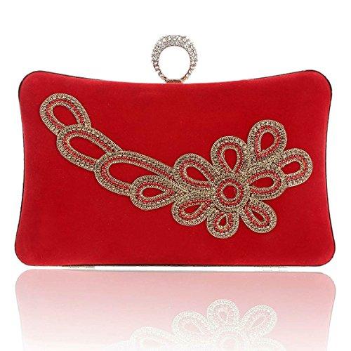 Damara Elegante Caja Dura Mujeres Cartera Embrague Con Hebilla Bolso De Hombro,Azul Rojo