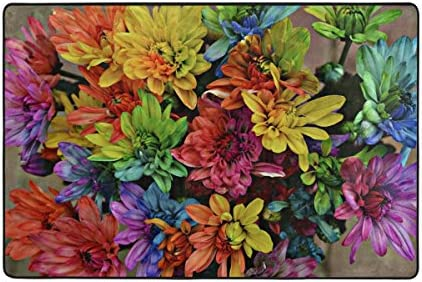 TSWEETHOME Doormat Front Door Mats Outdoor Inside Mats Personalized Welcome Mats with Colorful Chrysanthemums for Chair Mat and Decorative Floor Mat for Office and Home 36 x 24 in 72 x 48 in