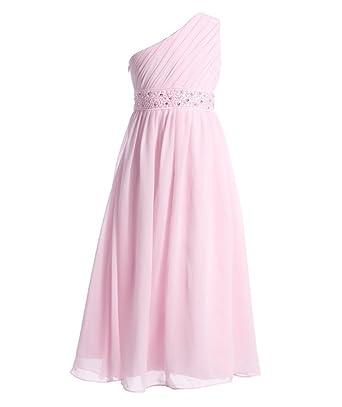 b503e62853480 FAIRY COUPLE - Robe de Soirée Fille Princesse Mousseline en Une Epaule  Plissée Ceinture Fleur de