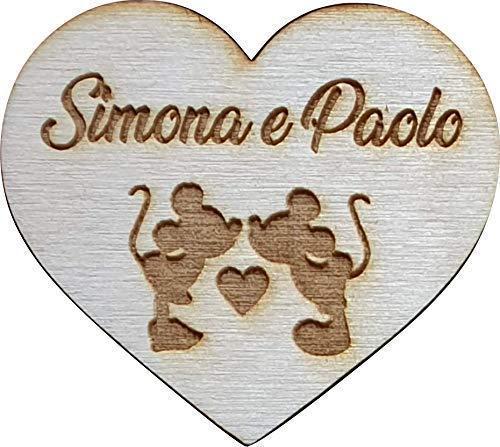 Segnaposto Matrimonio Disney.5 Pezzi Calamita Personalizzata In Legno Sagoma Cuore Tema Disney