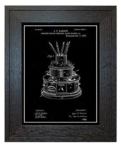 Combined Rotary Inkstand, Stamp-Drawer Patent Art Black Matt