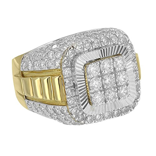 Mens Genuine Diamond Ring Iced Out Round Cut 10K Gold Custom 3.50 Carats