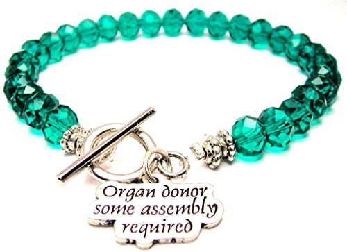 Organ Donor Some Assembly Required Crystal Toggle Bracelet in Emerald Green (Organ Donor Jewelry)