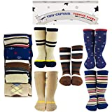 Tiny Captain Toddler Socks 1-3 Year Old Long Knee High Best Gift for Boys Age 1 (Blue and Tan)