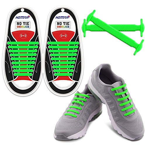 Homar No Tie Shoe Laces- Best in Sports Fan Shoelaces - Rubber Flat Running Shoe Laces No Tie Shoelace Replacement for Adults Athlete - Green