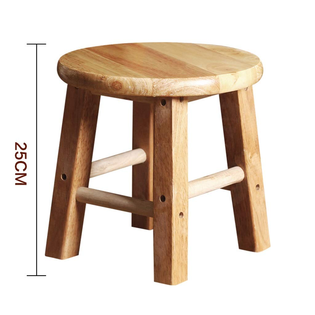 25cm Stool Wooden Bar Stools, Round High Stools, for Counter Café Kitchen Breakfast Pub (Size   50CM)