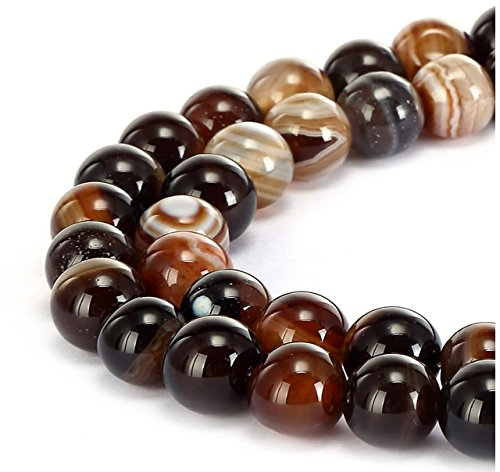 - 2 Strands AAA Natural Brown Stripe Agate Gemstone 10mm Round Loose Stone Beads 15 Inch per Strand for Jewelry Making GC15-10