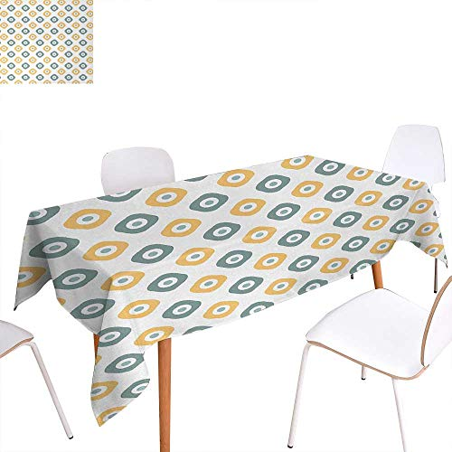 Warm Family Vintage Customized Tablecloth Stylish Evil Eye Bead Amulet Like Figures Cubical Rounded Dotted Stain Resistant Wrinkle Tablecloth 54