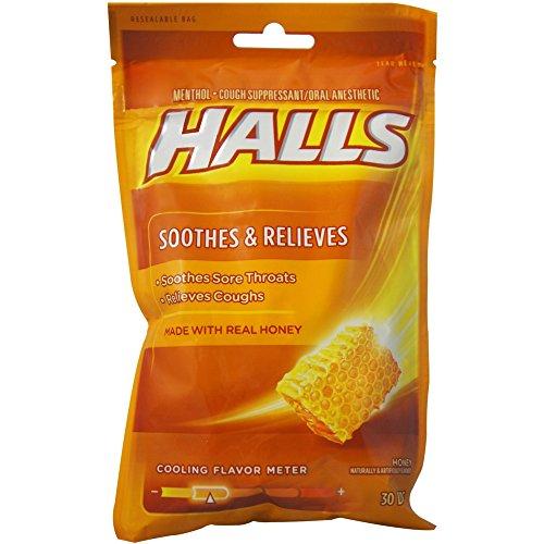 Vanilla Lemon Drop - Halls Honey Naturally & Artificially Flavored Menthol Drops 30 ea (Pack of 6)