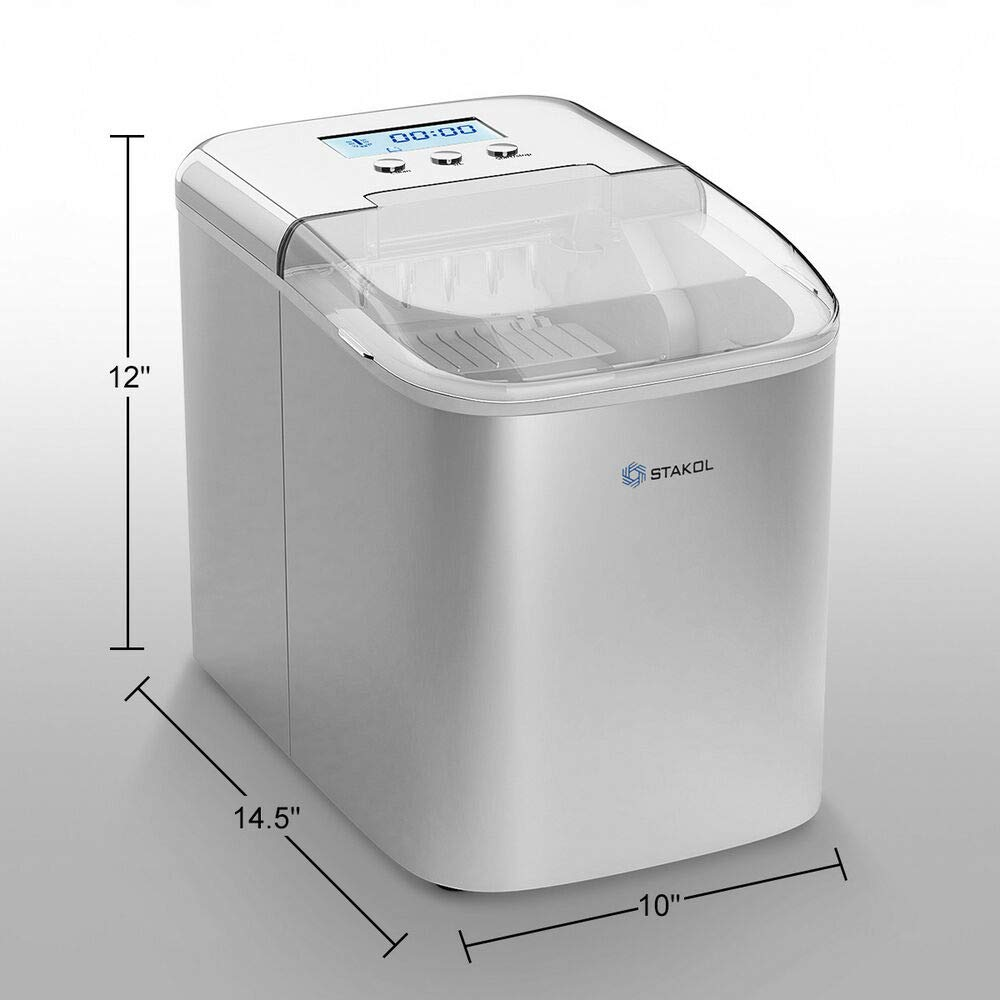 Stainless Steel Ice Maker Countertop 26LBS/24H LCD Display W/Scoop Portable by Generic (Image #2)