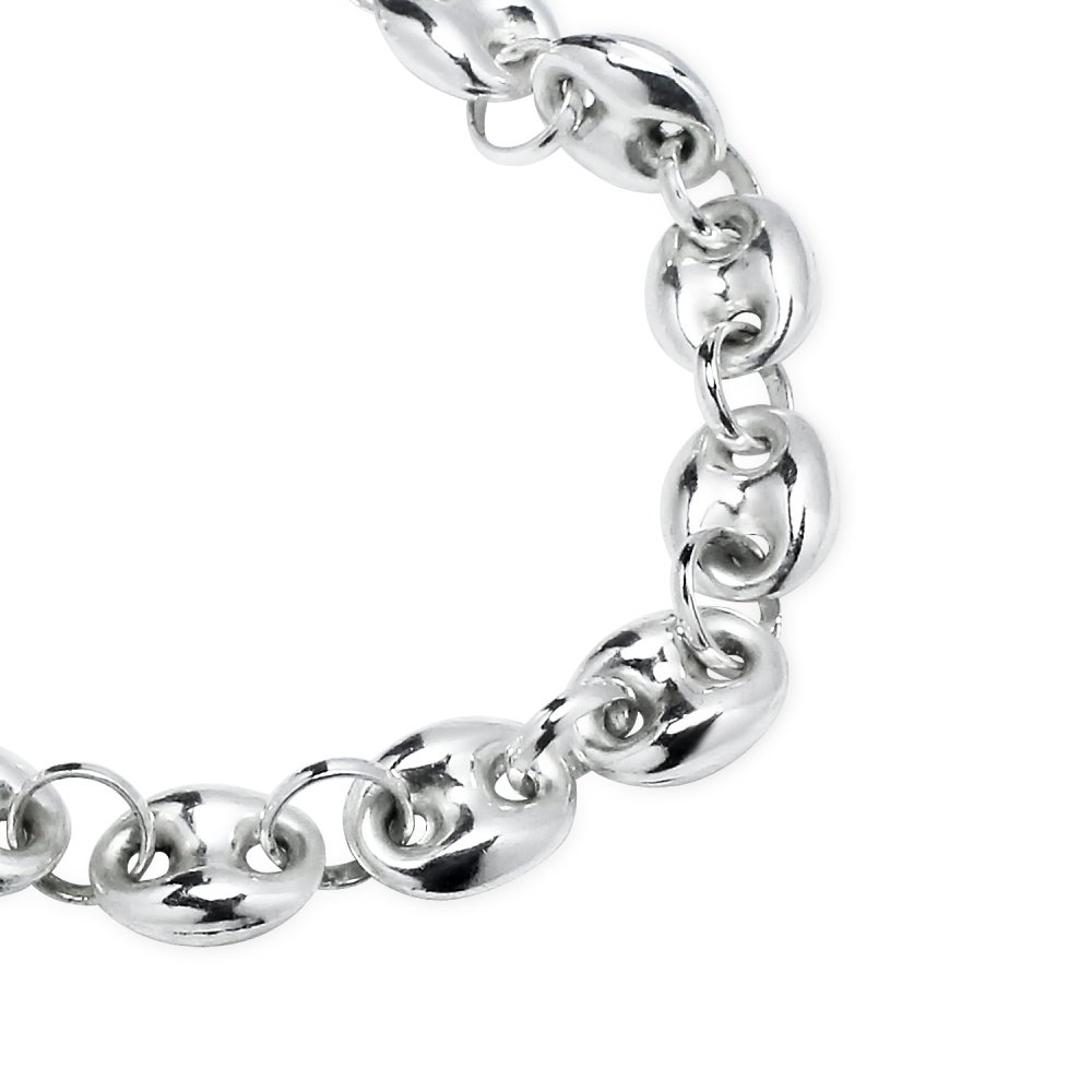 Sterling Silver High Polished Puffed Anchor Mariner Chain Bracelet, 7 Inches by Hoops & Loops (Image #2)