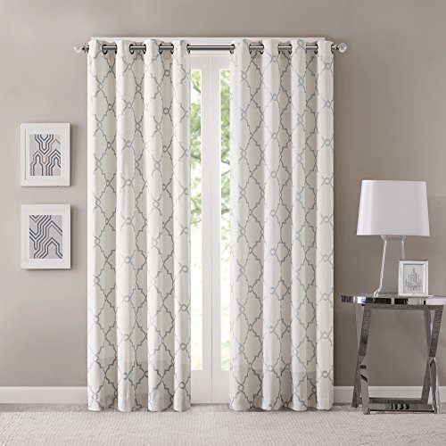 Madison Park Saratoga Room-Darkening Curtain Fretwork Print 1 Window Panel with Grommet Top Blackout Drapes for Bedroom and Dorm, 100x84, Ivory