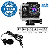 Captcha 4K WIFI Sports Action Camera Ultra HD Waterproof DV Camcorder 16MP 170 Degree Wide Angle With Lavalier Noise Cancelling 3.5mm Clip On Mini Microphone Compatible with Xiaomi, Lenovo, Apple, Samsung, Sony, Oppo, Gionee, Vivo Smartphones (One Year Warranty)