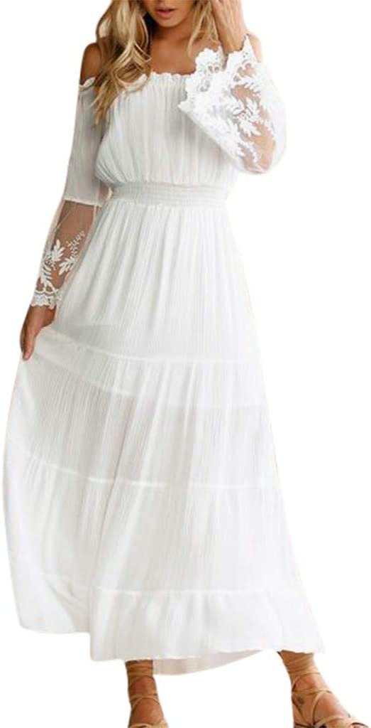 White Long Dress Lace and Chiffon Women Prom Dress With Sleeves New Size 4
