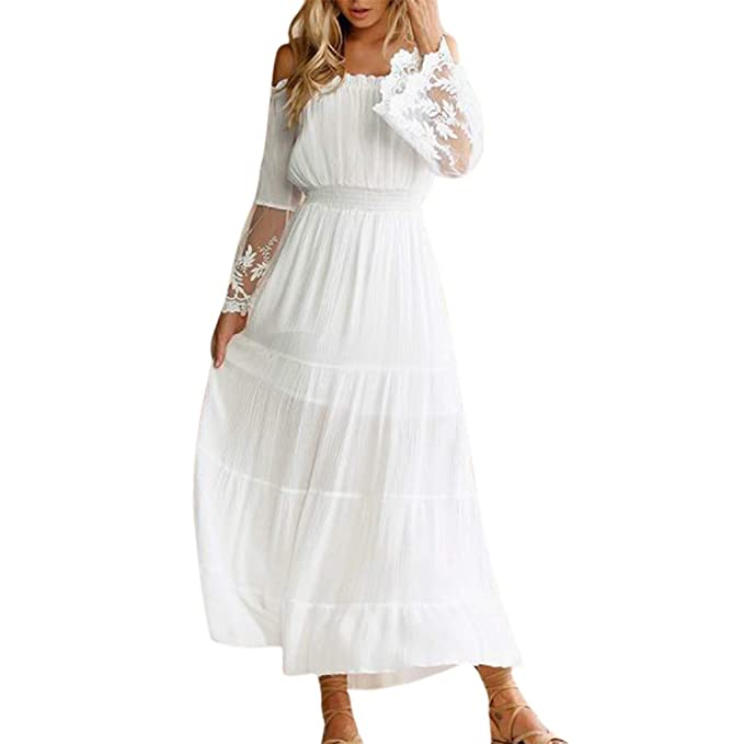 109f4e44b0 Dressin Bohemian Dress for Women, Womens Lace Dress Holiday Beach Wedding  Strapless Dresses Short Sleeve Maxi Dress at Amazon Women's Clothing store:
