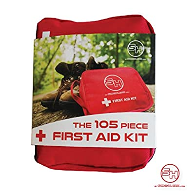 First Aid Kit - Emergency Survival Bag for Hiking, Camping, Travel, Cars, and Bug Out Bags - 105 Pieces