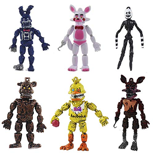 Pantysha Set of 6 pcs Five Nights at Freddy's Action Figures Toys Dolls Xmas Gifts Cake Toppers, 6 inches