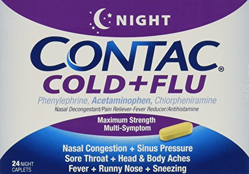 Contac Cold + Flu Night, 24 Caplets (Pack of 3)