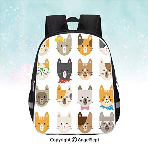 (Nylon Fabric Backpack,Cats Costume with Glasses Bow Tie Bandanna Cartoon Art Craft Pattern Print Pets Animal Lovers Print Decorative,13