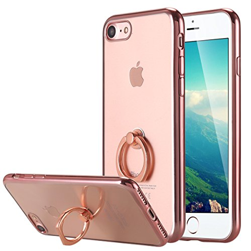iPhone 8 Case,iPhone 7 Case, Ultra Thin Clear Luxury TPU Rose Gold Bumper Case Cover with Built-in Ring Grip Holder for Apple iPhone 8/iPhone 7