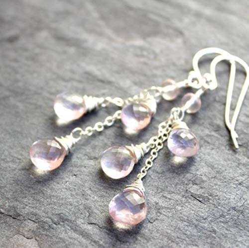 Rose Quartz Earrings Dangle Pale Pink Waterfall Briolettes Sterling Silver Gemstones Cascade 2.1 Inches