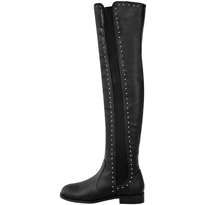 Damen Overknee-Stiefel - Nieten-Details - flacher Absatz - zum Hineinschlüpfen - Schwarzes Kunstleder - EUR 36 KdnDM