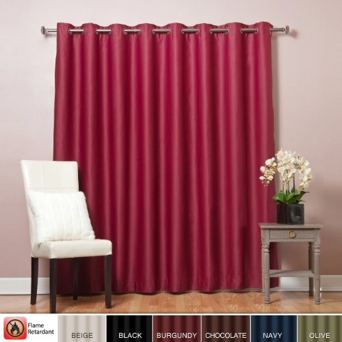Best Home Fashion Wide Width Flame Retardant Thermal Insulated Blackout Curtain – Antique Bronze Grommet Top – Burgundy – 100″W x 96″L – (1 Panel)