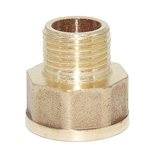 Dovewill Solid Brass Barbed Double End Male Hose to Female Hose Threaded Fitting Coupler Connector Joint - 3/4-1/2'' (Threaded Male 1/2' Connectors)