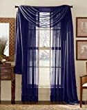 Cheap Luxury Discounts 3 Piece Sheer Voile Curtain Panel Drape Set Includes 2 Panels and 1 Scarf (84″ Length, Navy Blue)