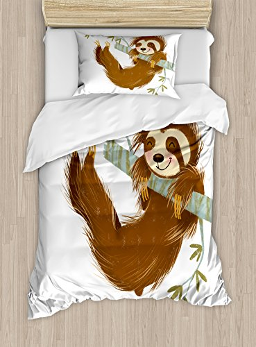 Ambesonne Sloth Duvet Cover Set Twin Size, Happy Cheerful Animal Swinging on Tree Branch Hand Drawn Cartoon Illustration, Decorative 2 Piece Bedding Set with 1 Pillow Sham, Brown Khaki Grey by Ambesonne