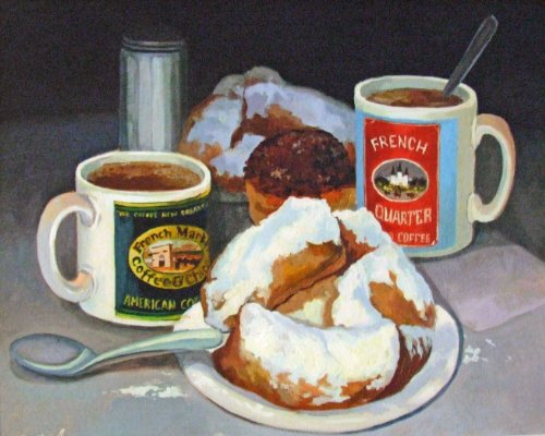 - French Market Coffee & Biegnets New Orleans Baltas Matted Art Print