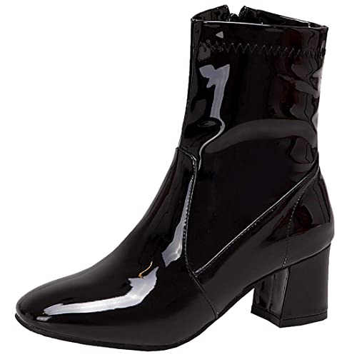 44786abd8e0c2 Artfaerie Women's Block High Heel Platform Patent Leather Ankle Boots with  Fur Zip up Booties Shoes