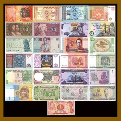 - 25 Pcs of Different World Mix (Mixed) Foreign Banknotes Currency Lot, Unc - limited, rare