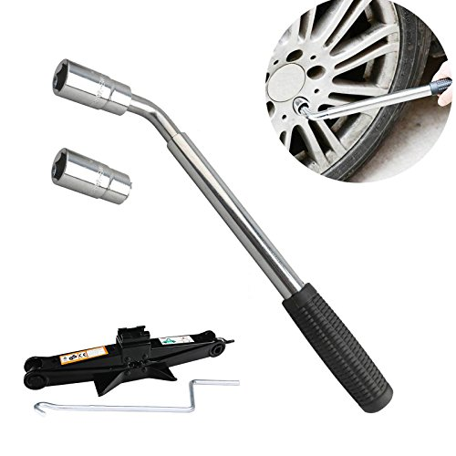 Car Van Tyre Lug Nut Wheel Wrench 17 19 21 23mm With Scissor Jack Black Steel 2T ()