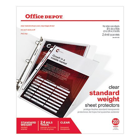 office-depot-top-loading-sheet-protectors-standard-weight-85-x-11-box-of-100-498761