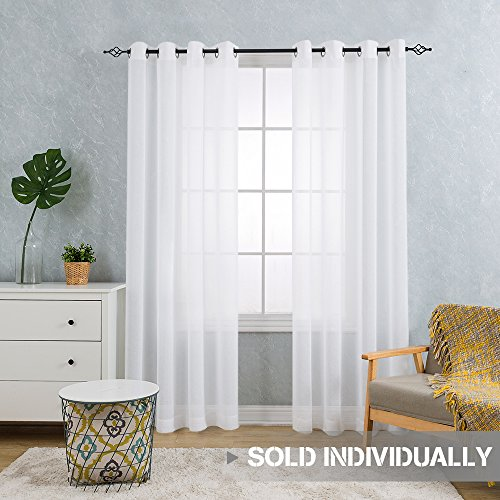 CKNY Sheer Curtains For Bedroom Living Room Kitchen 84 Inch Length White