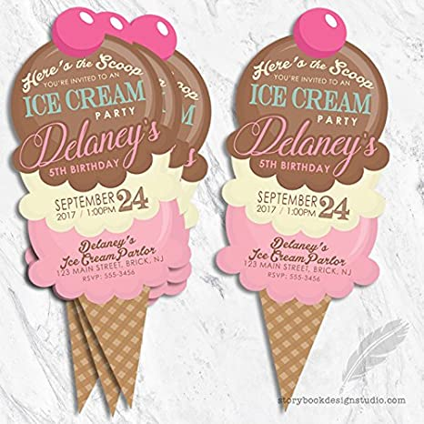 amazon com ice cream cone birthday party invitations set of 10