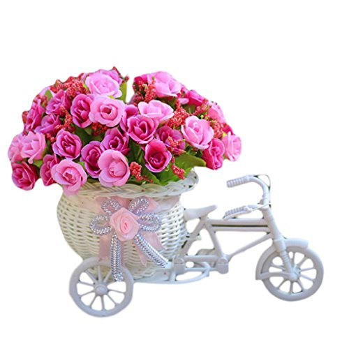 Mikey Store Home Furnishing Decorative Set Diamond Rose Flowers Floats Bicycle Basket Weaving Simulation (Red) - Red Medium Stem Rose Bouquet