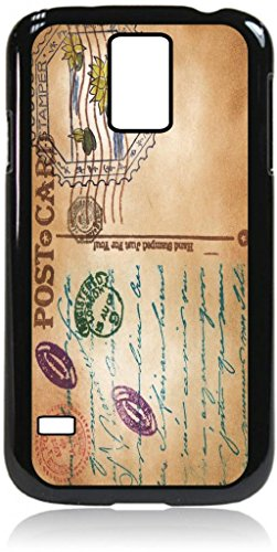 - Vintage Style PostCard- Quality Window View Hard Black Plastic with PU Leather and Suede Flip Cover Case for the Samsung Galaxy S5 i9600
