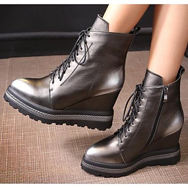 Boots US6 5 For Mid RTRY Toe 5 Boots CN37 Burgundy Winter Casual Heel Shoes Cowhide Combat Wedge Pointed EU37 Calf Women'S 5 Boots Silver UK4 7 wC6CnqHYxU