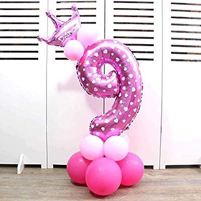 Globos de papel de aluminio con corona para fiesta de cumpleaños. Números 0 al 9 9 rosa