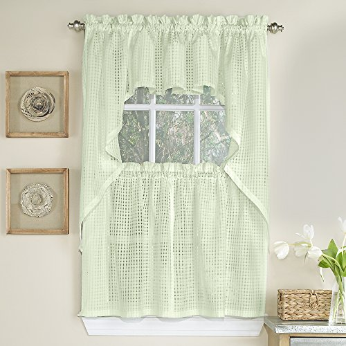 Sweet Home Collection 5 Pc Kitchen Curtain Set, Swag, Valance Choice of 24